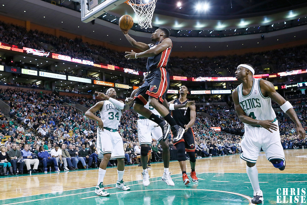 27 January 2013: Miami Heat point guard Norris Cole (30) goes for the layup during the Boston Celtics 100-98  2OT victory over the Miami Heat at the TD Garden, Boston, Massachusetts, USA.