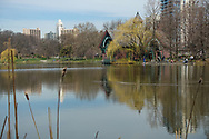 The Harlem Meer with the Dana Nature Center in Central Park.