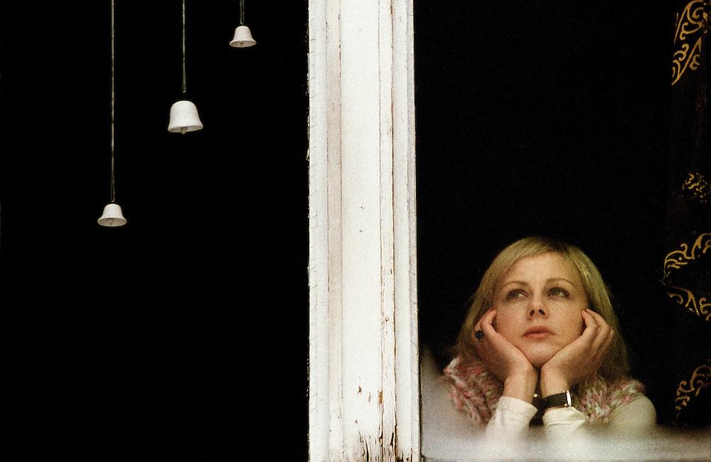 Portrait of main actor Polona Juh in featured film Under her window - Pod njenim oknom, directed by Metod Pevec. Director of photograpy: Žiga Koritnik, still: Željko Stevanić