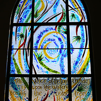 The new stain glass window created after the tornado of 2014 destroyed the orignal