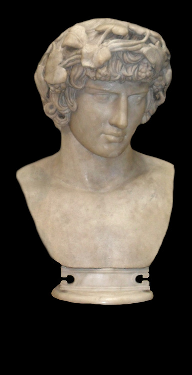 marble bust of Antinous the lover of Hadrian, Roman emperor. Circa 130-138 AD.