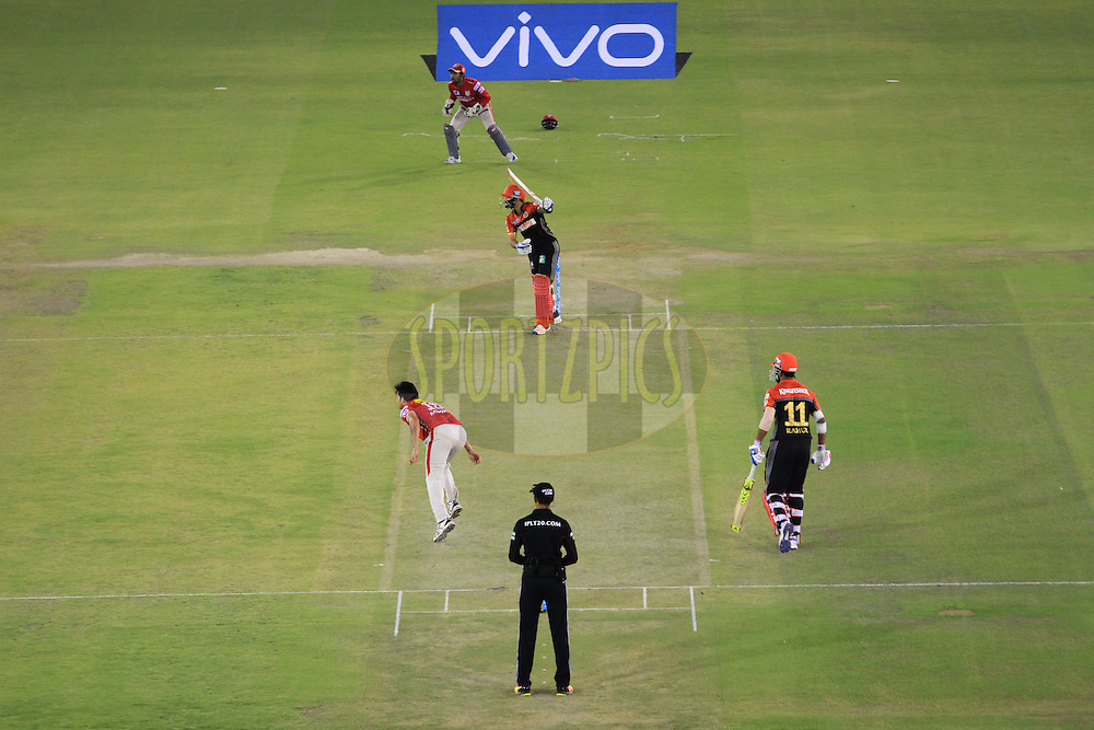 Kings XI Punjab and the Royal Challengers players in action during match 39 of the Vivo Indian Premier League ( IPL ) 2016 between the Kings XI Punjab and the Royal Challengers Bangalore held at the IS Bindra Stadium, Mohali, India on the 9th May 2016<br /> <br /> Photo by Arjun Singh / IPL/ SPORTZPICS