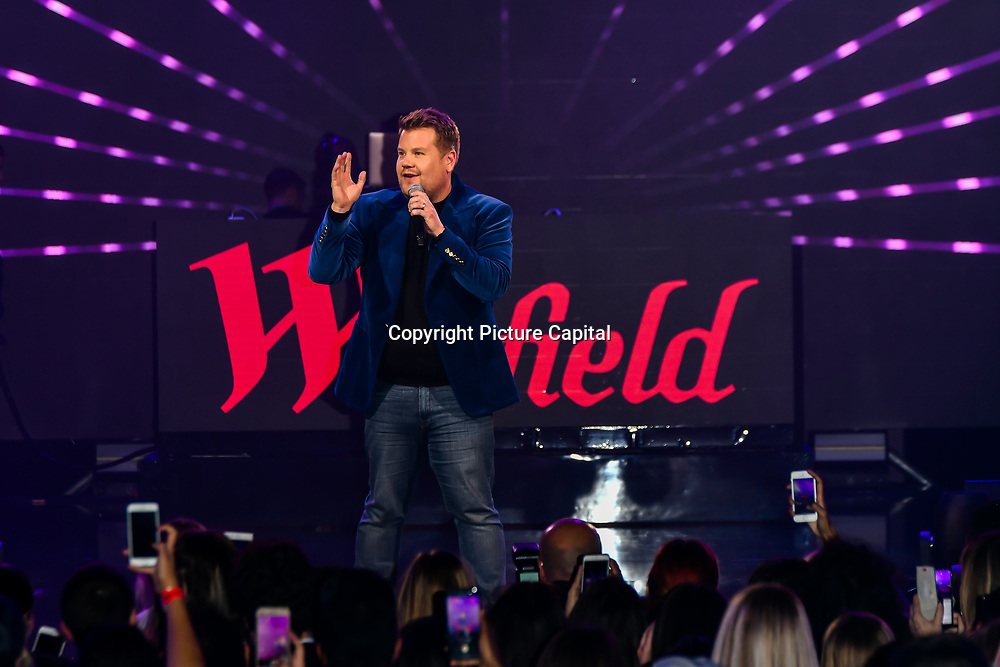 James Corden hosts a special Performances by Rita Ora, Liam Payne and Rudimental at Westfield London to mark its 10th-year anniversary in the capital on 30 October 2018, London, UK.