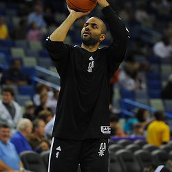 Jan 18, 2010; New Orleans, LA, USA; San Antonio Spurs guard Tony Parker during warm ups prior to tip off against the New Orleans Hornets at the New Orleans Arena. Mandatory Credit: Derick E. Hingle-US PRESSWIRE
