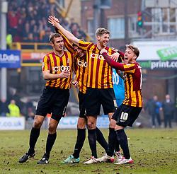 Bradford City's Jon Stead celebrates after scoring his sides second goal  - Photo mandatory by-line: Matt McNulty/JMP - Mobile: 07966 386802 - 15/02/2015 - SPORT - Football - Bradford - Valley Parade - Bradford City v Sunderland - FA Cup - Fifth Round