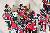 KELOWNA, CANADA - NOVEMBER 9:  The Kelowna Rockets celebrate the win against the Red Deer Rebels at the Kelowna Rockets on November 9, 2012 at Prospera Place in Kelowna, British Columbia, Canada (Photo by Marissa Baecker/Shoot the Breeze) *** Local Caption ***