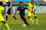 VSI Tampa Bay FC midfielder Darren Toby (15) in action against Antigua Barracuda in a USL Pro soccer match at Plant City stadium in Plant City, Florida on June 7, 2013. VSI won 8-0.<br /> <br /> ©2013 Scott A. Miller