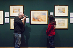 Pictured: Media interest in high wth  Stephanie Kerr, Trust manager, People's Postcode Lottery, which support the annual exhibition, getting an early view of this year's exhibits.<br /> The annual exhibition of the collection of Turner watercolours bequeathed in 1900 by Henry Vaughan was in the finalstages of preparation today.  The exhibition runs at the Scottish National Gallery from January 1 to 30<br /> <br /> <br /> Ger Harley | EEm 21 December 2017