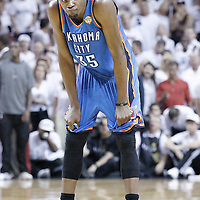 21 June 2012: Oklahoma City Thunder small forward Kevin Durant (35) looks dejected as he rests during the Miami Heat 121-106 victory over the Oklahoma City Thunder, in Game 5 of the 2012 NBA Finals, at the AmericanAirlinesArena, Miami, Florida, USA. The Miami Heat wins the series 4-1.