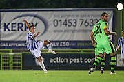 Cheltehham Town's Billy Walters shoots at goal scores a goal 4-3 during the Gloucestershire Senior Cup match between Forest Green Rovers and Cheltenham Town at the New Lawn, Forest Green, United Kingdom on 20 September 2016. Photo by Shane Healey.