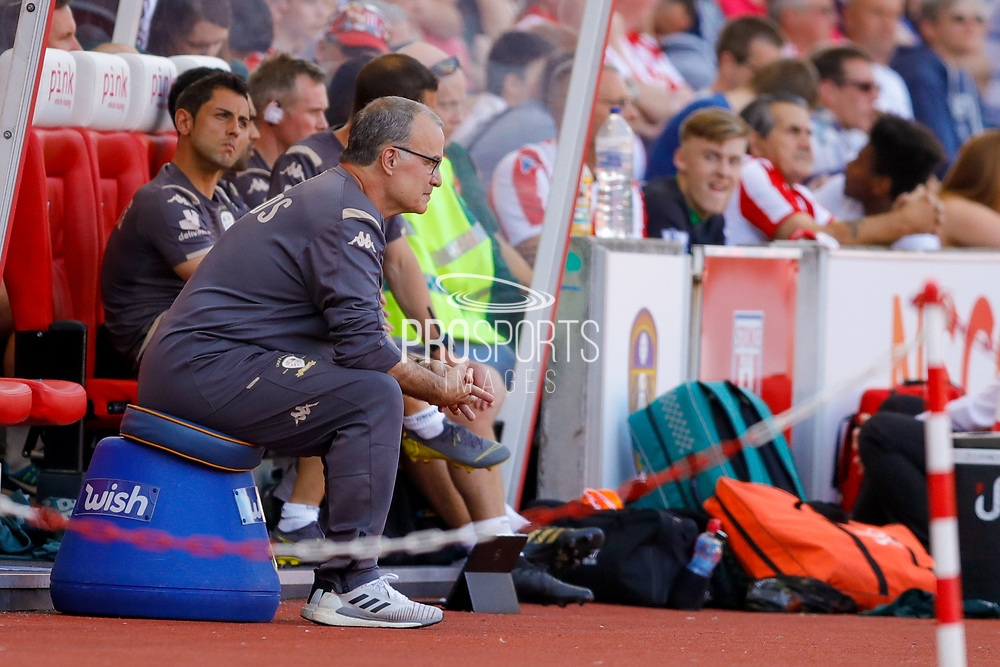Leeds United Manager Marcelo Bielsa  during the EFL Sky Bet Championship match between Stoke City and Leeds United at the Bet365 Stadium, Stoke-on-Trent, England on 24 August 2019.