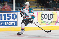 KELOWNA, CANADA - MAY 13: Lucas Johansen #7 of Kelowna Rockets skates against the Brandon Wheat Kings on May 13, 2015 during game 4 of the WHL final series at Prospera Place in Kelowna, British Columbia, Canada.  (Photo by Marissa Baecker/Shoot the Breeze)  *** Local Caption *** Lucas Johansen;