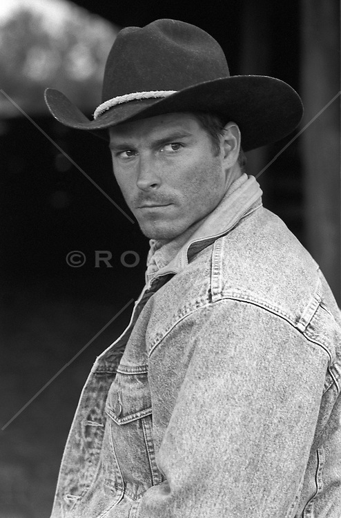 handsome cowboy looking off