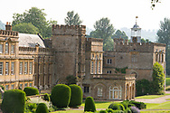 Clipped yew topiary around Forde Abbey a former Cistercian monastery in Chard, Dorset, UK