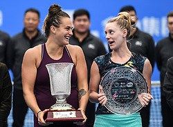 SHENZHEN, Jan. 5, 2019  Aryna Sabalenka (L) of Belarus and Alison Riske of the United States pose on the awarding ceremony after their final match at the WTA Shenzhen Open tennis tournament in Shenzhen, south China's Guangdong Province, Jan. 5, 2019. Aryana Sabalenka won 2-1 and claimed the title. (Credit Image: © Xinhua via ZUMA Wire)