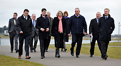© Licensed to London News Pictures. 27/02/2012, London, UK. ( Front Row L-R ) JOSS CARTER Venue Security Manager 2012, JOHN KELLY, Venue Operations Manager London 2012, THERESA MAY,  IVOR LLOYD Managing Director of Dorney Lake, PAUL DEIGHTON Chief Executive London 2012, walk along the course for Olympic Rowing evens. Home Secretary Theresa May visits Eton College Rowing Centre in Windsor today 27 february 2012 to see security preparations being made ahead of the London Olympic and Paralympic Games. Photo credit : Stephen Simpson/LNP