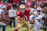 16 September 2012: Quarterback (11) Alex Smith of the San Francisco 49ers runs the ball against the Detroit Lions during the second half of the 49ers 27-19 victory against the Lions in an NFL football game at Candlestick Park in San Francisco, CA.