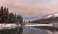 Sunrise on Eagle River Valley in Chugach State Park in Southcentral Alaska. Winter.