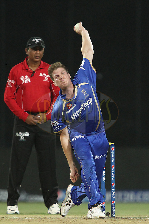 James Faulkner of the Rajasthan Royals sends down a delivery during match 23 of the Pepsi Indian Premier League Season 2014 between the Delhi Daredevils and the Rajasthan Royals held at the Feroze Shah Kotla cricket stadium, Delhi, India on the 3rd May  2014<br /> <br /> Photo by Shaun Roy / IPL / SPORTZPICS<br /> <br /> <br /> <br /> Image use subject to terms and conditions which can be found here:  http://sportzpics.photoshelter.com/gallery/Pepsi-IPL-Image-terms-and-conditions/G00004VW1IVJ.gB0/C0000TScjhBM6ikg