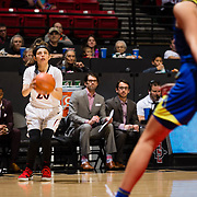 24 February 2018: The San Diego State women's basketball team closes out it's home schedule of the regular season Saturday afternoon against San Jose State. San Diego State Aztecs guard Geena Gomez (20) steps back for a three point attempt in the second half. The Aztecs beat the Spartans 85-78 at Viejas Arena.<br /> More game action at sdsuaztecphotos.com