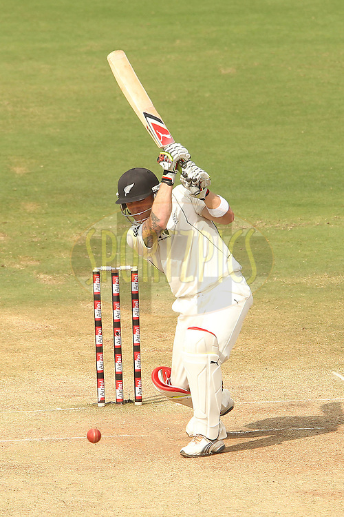 Brendon McCullum of New Zealand during day four of the second test match between India and New Zealand held at the Rajiv Gandhi International Cricket Stadium in Hyderabad on the 14th November 2010..Photo by Ron Gaunt/BCCI/SPORTZPICS
