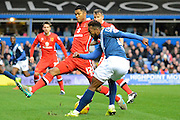 MK Dons defender Jordan Spence blocks Birmingham City midfielder Jacques Maghoma cross during the Sky Bet Championship match between Birmingham City and Milton Keynes Dons at St Andrews, Birmingham, England on 28 December 2015. Photo by Alan Franklin.