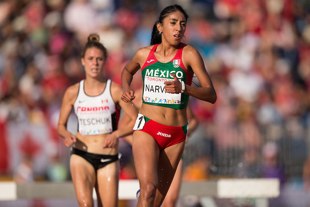 Ana Navarez of Mexico competes in the women's steeplechase at the 2015 Pan American Games at CIBC Athletics Stadium in Toronto, Canada, July 24,  2015.  AFP PHOTO/GEOFF ROBINS