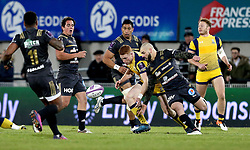 Connor Braid of Worcester Warriors and Benjamin Lapeyre of Brive challenge for the bouncing ball - Mandatory by-line: Robbie Stephenson/JMP - 14/01/2017 - RUGBY - Stade Amedee-Domenech - Brive-la-Gaillarde,  - Brive v Worcester Warriors - European Challenge Cup