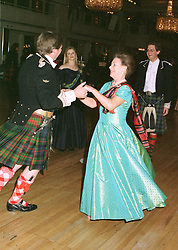 HRH PRINCESS MARGARET dancing  the Dashing White Sergeant Set Reel with the EARL OF ERROLL, at a ball in London on May 1st 1997.LYB 106