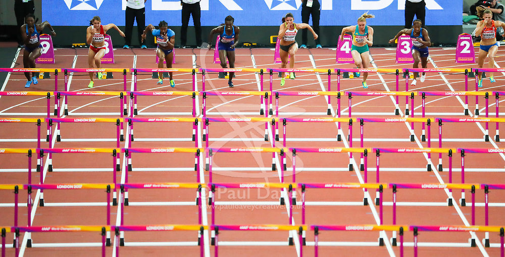 London, August 12 2017 . The Women's 100m hurdles final gets underway on day nine of the IAAF London 2017 world Championships at the London Stadium. © Paul Davey.