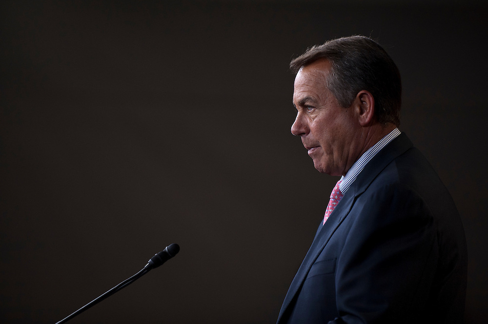 Speaker of the House JOHN BOEHNER (R-OH) speaks to the media during his weekly press conference at the U.S. Capitol on Thursday. Boehner said his party was sticking to its demand that the payroll tax cut not add to the country's $15 trillion debt.