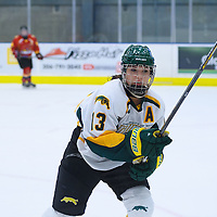 5th year forward Kylie Gavelin (13) of the Regina Cougars in action during the Women's Hockey Game on November 25 at Co-operators arena. Credit: Arthur Ward/Arthur Images