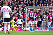 Fulham defender Ryan Sessegnon (30) scores 1-0 during the EFL Sky Bet Championship match between Fulham and Aston Villa at Craven Cottage, London, England on 17 April 2017. Photo by Jon Bromley.