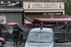 August 15, 2017 - Sept-Sorts, Paris, France - Police officers patrol the scene of a car crash, into a pizza restaurant, in Sept-Sorts, 55km east of Paris, on August 15, 2017, resulting in the death of a 13-year-old girl and seriously injuring four. Investigators said the young driver had tried to commit suicide and the incident was not terror-related. The man, who was arrested, said 'he had tried to kill himself yesterday (August 13) without success and decided to try again this way,' a source close to the inquiry said. (Credit Image: © Julien Mattia/NurPhoto via ZUMA Press)
