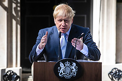 © Licensed to London News Pictures. 24/07/2019. London, UK. Prime Minister Boris Johnson gives a speech as he arrives at 10 Downing Street. Photo credit: Rob Pinney/LNP