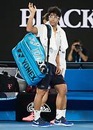 HYEON CHUNG (KOR) verabschiedet sich nach seiner Aufgabe wegen Verletzung,<br /> <br /> Tennis - Australian Open 2018 - Grand Slam / ATP / WTA -  Melbourne  Park - Melbourne - Victoria - Australia  - 26 January 2018.