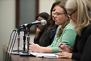Lauren Rose, Director of Youth Justice Policy with Texans Care for Children, addresses the House Juvenile Justice and Family Issues Committee to discuss a piece of legislation that would raise from 17 to 18 the age an offender automatically enters the adult justice system in Dallas, Texas on September 7, 2016. (Cooper Neill for The Texas Tribune)