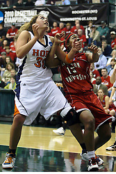 20 March 2010: Carrie Snikkers and Jaimie McFarlin muscle each other for position.The Flying Dutch of Hope College fall to the Bears of Washington University 65-59 in the Championship Game of the Division 3 Women's NCAA Basketball Championship the at the Shirk Center at Illinois Wesleyan in Bloomington Illinois.