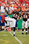 KANSAS CITY, MO - SEPTEMBER 10:  Safety Madieu Williams #40 of the Cincinnati Bengals does a dance after making a tackle during a game against the Kansas City Chiefs on September 10, 2006 at Arrowhead Stadium in Kansas City, Missouri.  The Bengals won 23 to 10.  (Photo by Wesley Hitt/Getty Images)***Local Caption***Madieu Williams