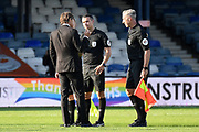 Derby County manager Phillip Cocu  confronts the match officials on the pitch after  the EFL Sky Bet Championship match between Luton Town and Derby County at Kenilworth Road, Luton, England on 19 September 2020.