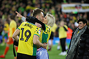 Norwich City midfielder Tom Trybull (19)   celebrates promotion to the Premier League after the EFL Sky Bet Championship match between Norwich City and Blackburn Rovers at Carrow Road, Norwich, England on 27 April 2019.