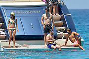 IBIZA, SPAIN, 2016, JUNE 04 <br /> <br /> Rafael Nadal celebrated his thirtieth birthday, away from his beloved Roland Garros, but always in the best company, his girlfriend Xisca Perello, the young woman with whom he shares his life for over ten years. The dedicated athlete and his girl have traveled to the island of Ibiza where we already enjoy a well-deserved vacation with a group of friends aboard a luxury yacht. As we remember the sprained left wrist he sent to home after having passed the second round. The sheath that covers tendons of the joint was in danger of breaking, and finished twelfth participation suddently. With immobilized wrist, expected evolution of it to know exactly when you can resume physical activity and play racket. His greatest illusion, a complete recovery to face the second part of the campaign, which includes its flagship status in 2016. The day of his thirtieth birthday Rio Olympics certainly a very special date to begin a new decade in its life, Rafa Nadal enjoyed a fun day at sea with his girlfriend and a group of friends.<br /> ©Exclusivepxix Media