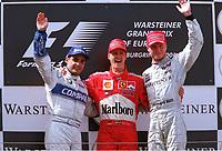 v.l. Juan Pablo MONTOYA BMW-Williams dritter, Michael SCHUMACHER Ferrari Sieger, <br />David COULTHARD McLaren Mercedes zweiter      Gro§er Preis von Europa  NŸrburgring