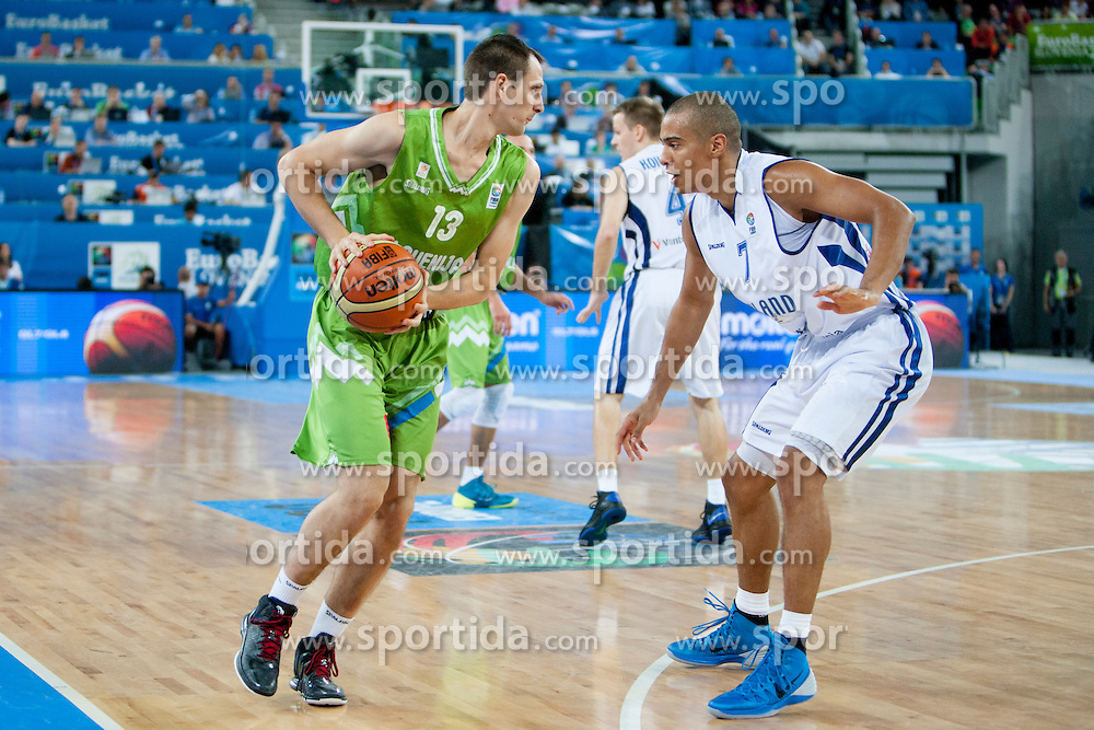 Domen Lorbek of Slovenia during basketball match between National teams of Finland and Slovenia in 2nd Round at Day 13 of Eurobasket 2013 on September 14, 2013 in SRC Stozice, Ljubljana, Slovenia. (Photo By Urban Urbanc / Sportida)