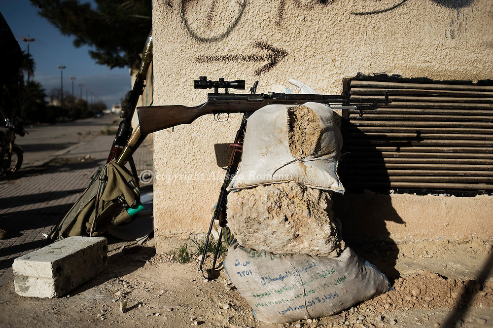SYRIA - Al Qsair. Free Syrian Army's sniper position, in Al Qsair, on February 9, 2012. ALESSIO ROMENZI