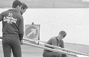 Nottingham. United Kingdom. <br /> Crouched Adam CLIFT.<br /> Nottingham International Regatta, National Water Sport Centre, Holme Pierrepont. England<br /> <br /> 31.05.1986 to 01.06.1986<br /> <br /> [Mandatory Credit: Peter SPURRIER/Intersport images] 1986 Nottingham International Regatta, Nottingham. UK