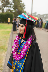 """June 17, 2017 - La Jolla, US - Tenzin Gyatso, His Holiness the 14th Dalai Lama, is keynote speaker at the University of California San Diego All Campus Commencement.. Ã'You have the opportunity to create a better world, a happier world,Ã"""" said His Holiness the 14th Dalai Lama, who delivered the keynote address to 25,000 University of California San Diego graduates and their families today during the universityÃ•s All Campus Commencement..A record number of 6,000 students graduate from UC San Diego this weekend..Seen here a few of the 6,000 + students graduating Many had customized their caps. (Credit Image: © Daren Fentiman via ZUMA Wire)"""