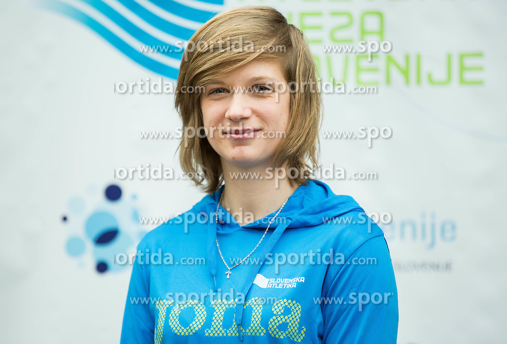 Tina Sutej during press conference when Slovenian athletes and their coaches sign contracts with Athletic federation of Slovenia for year 2016, on February 25, 2016 in AZS, Ljubljana, Slovenia. Photo by Vid Ponikvar / Sportida