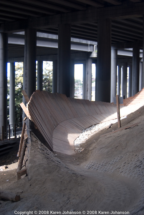 One of many wallrides at the Colonnade bike skills park in Seattle, Wash.
