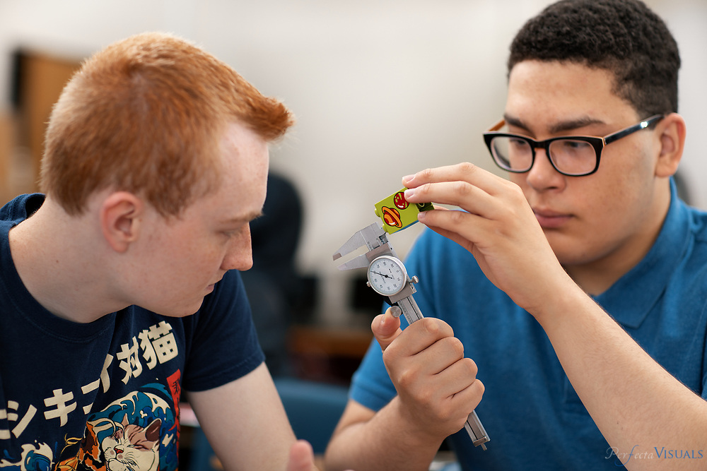 Students reverse engineer a building block in Jeffrey Gates&rsquo; Project Lead the Way Engineering and Computer Programming class at Weaver Academy.<br /> <br /> Photographed, Monday, May 14, 2018, in Greensboro, N.C. JERRY WOLFORD and SCOTT MUTHERSBAUGH / Perfecta Visuals